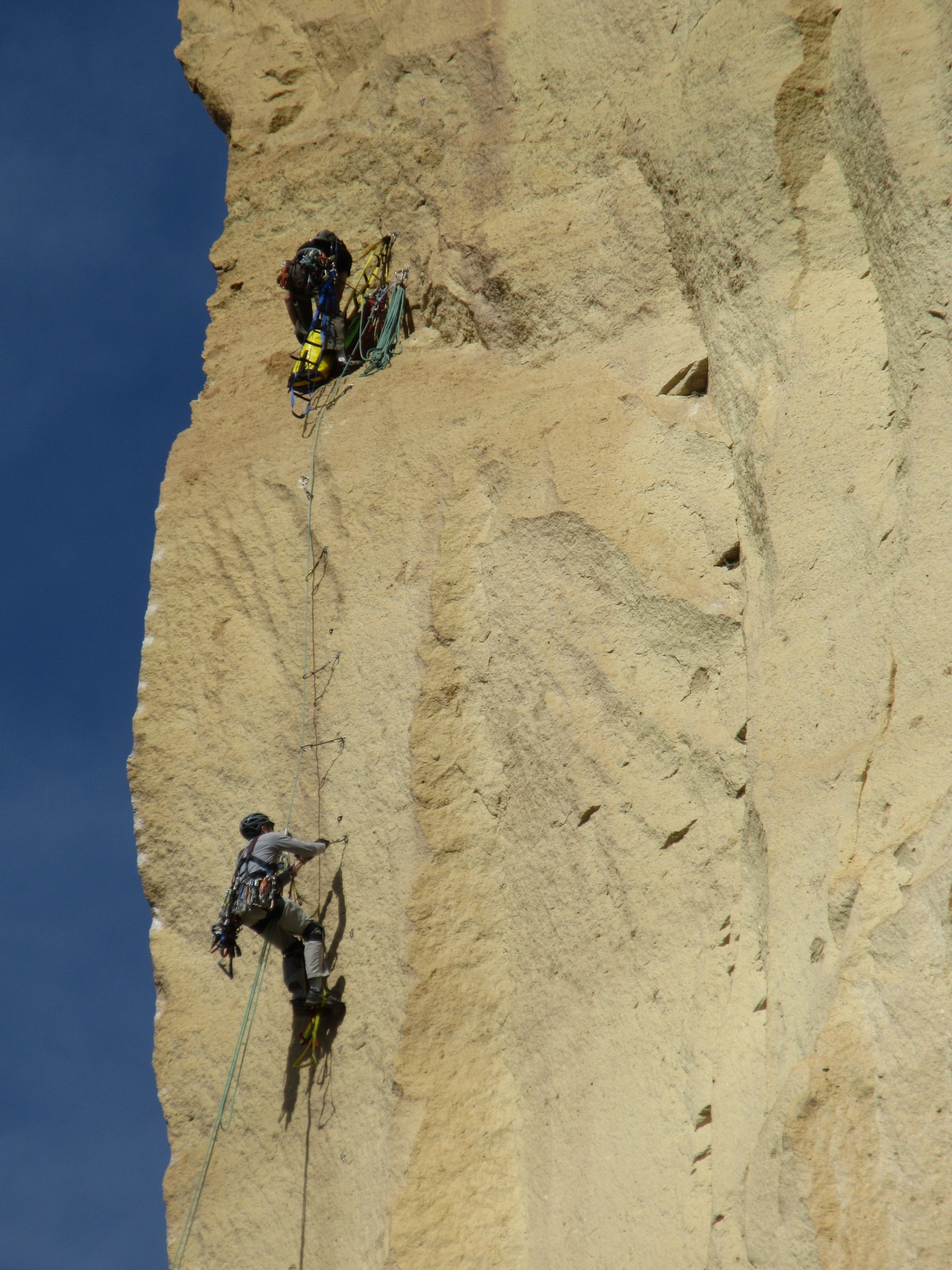 aid climbing on Monkey Face at Smith Rock State Park