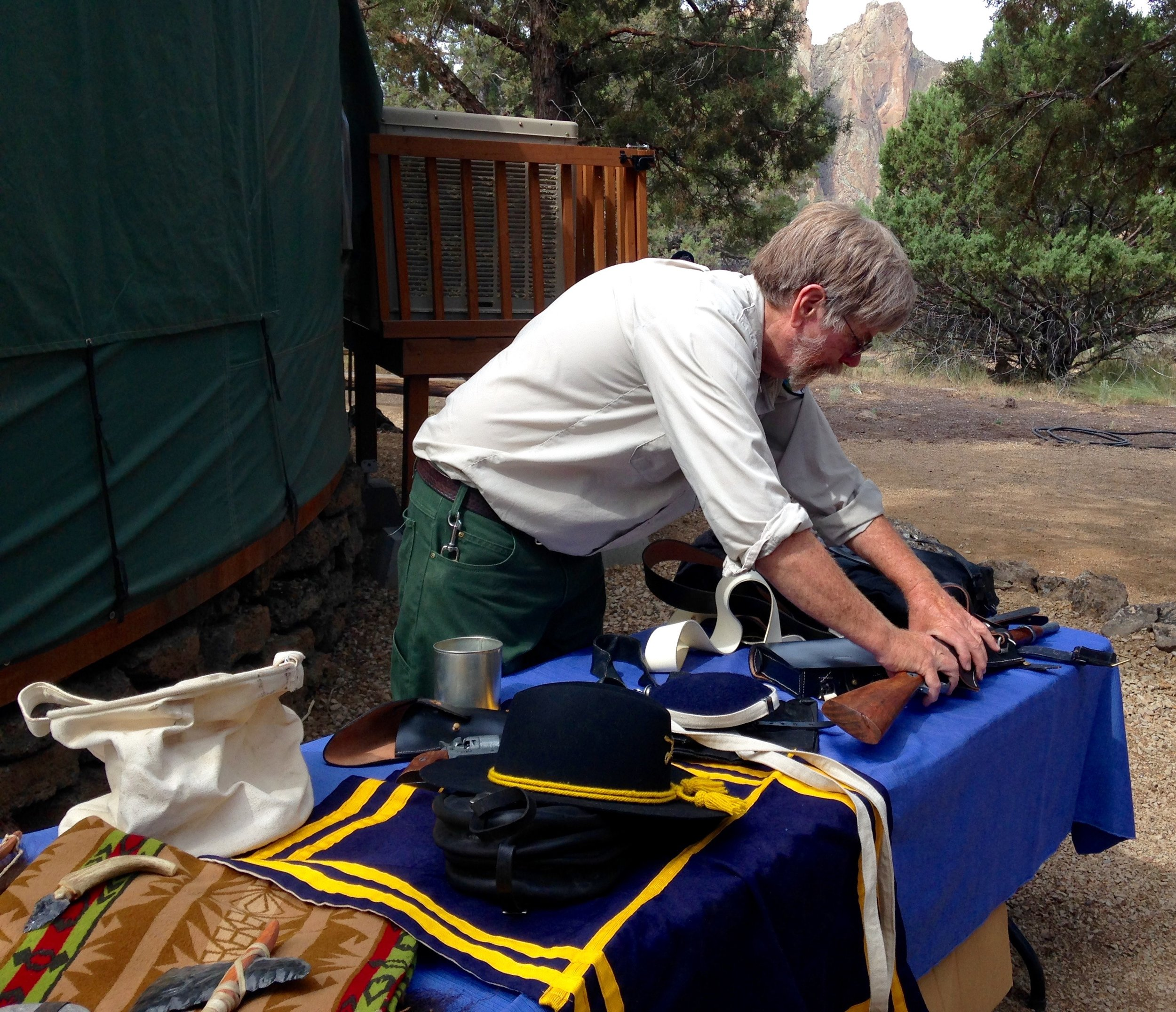 Smith Rock State Park Interpretative Ranger Eric Iseman and replica artifacts