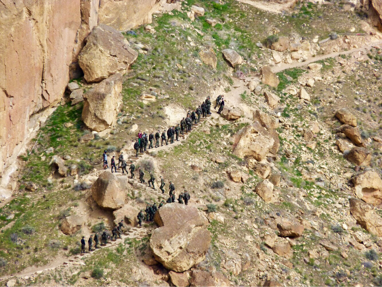 Oregon Youth Challenge Program cadets hike up Misery Ridge Trail at Smith Rock State Park