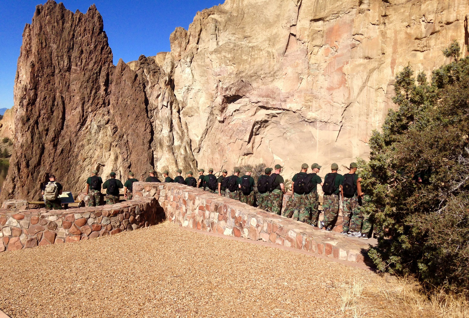 Oregon Youth Challenge cadets at the Overlook at Smith Rock State Park