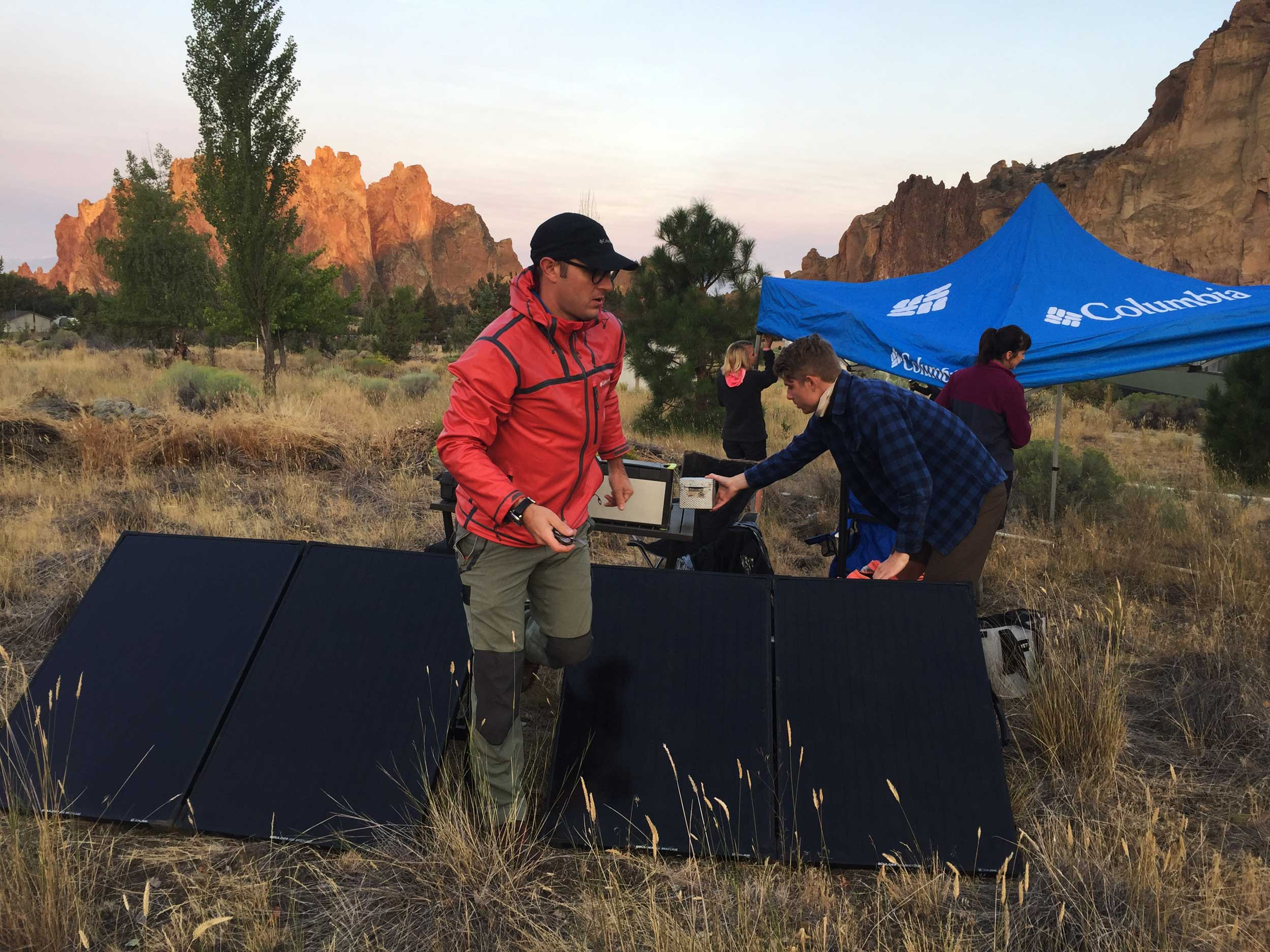 Columbia Sportswear sets up at the headquarters of SmithRock.com for a live broadcast of the Total Solar Eclipse at Smith Rock State Park