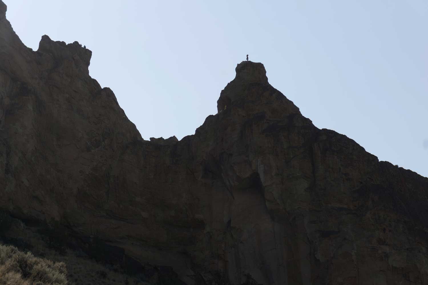 Brogan Spire viewer of the Total Solar Eclipse at Smith Rock 25 minutes before totality