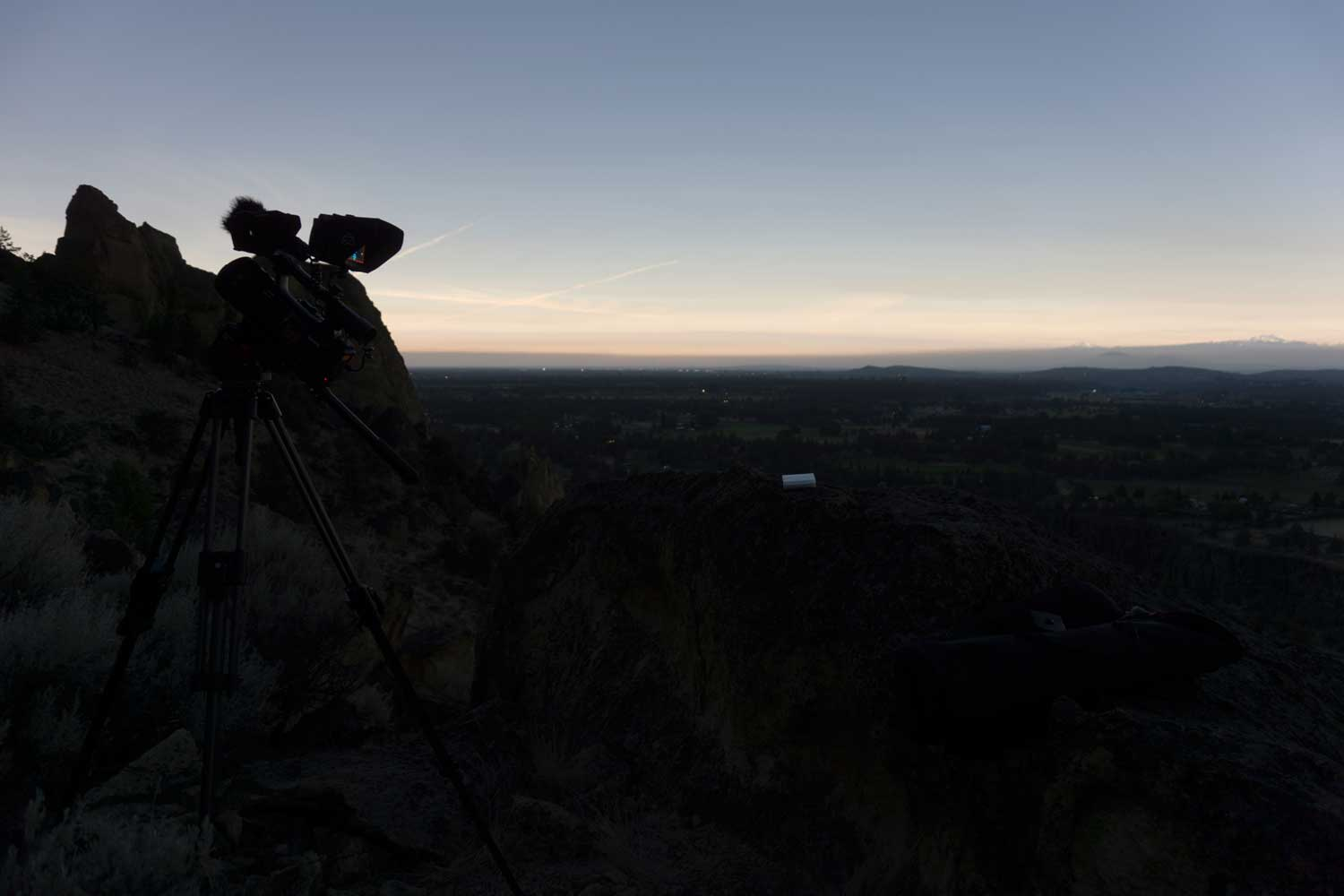 Video camera capturing the start of totality of the Total Solar Eclipse at Smith Rock (Bend is still light in the background)
