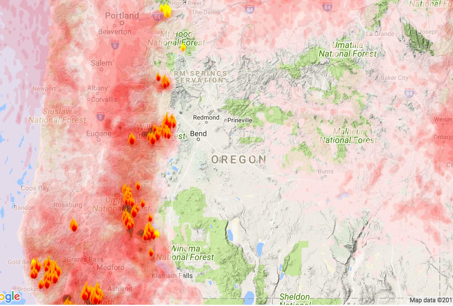 Oregon Smoke blogspot Labor Day model for average smoke conditions