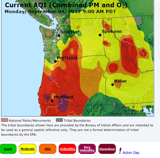 Current AQI for Sept. 4 2017 9:00 AM