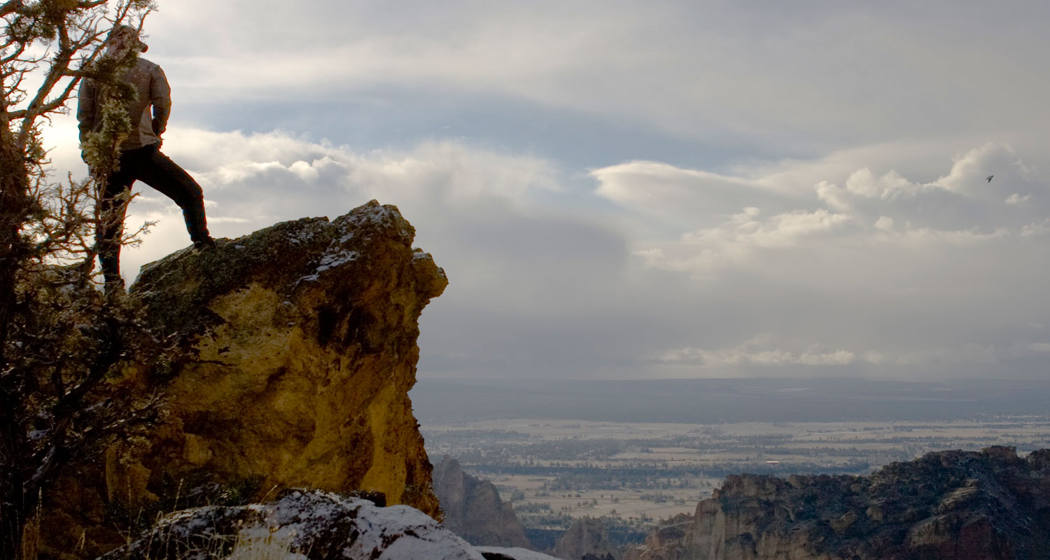 Hiker thankful for the beauty of Smith Rock.