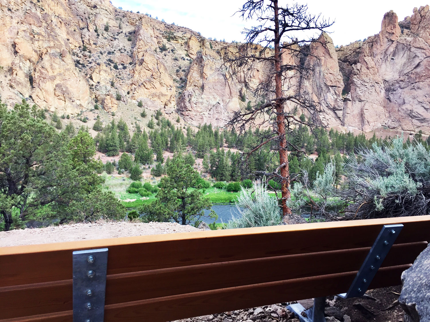 View from the bench on the Homestead Trail at Smith Rock State Park