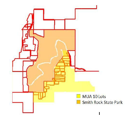 Multi Use Agricultural (MUA 10) Lots around the Smith Rock State Park area that can be developed under conditional use permits, like the Mazama Ranch Development   image courtesy of the Terrebonne Neighborhood Alliance