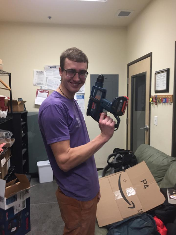 Alex and his trusty drill
