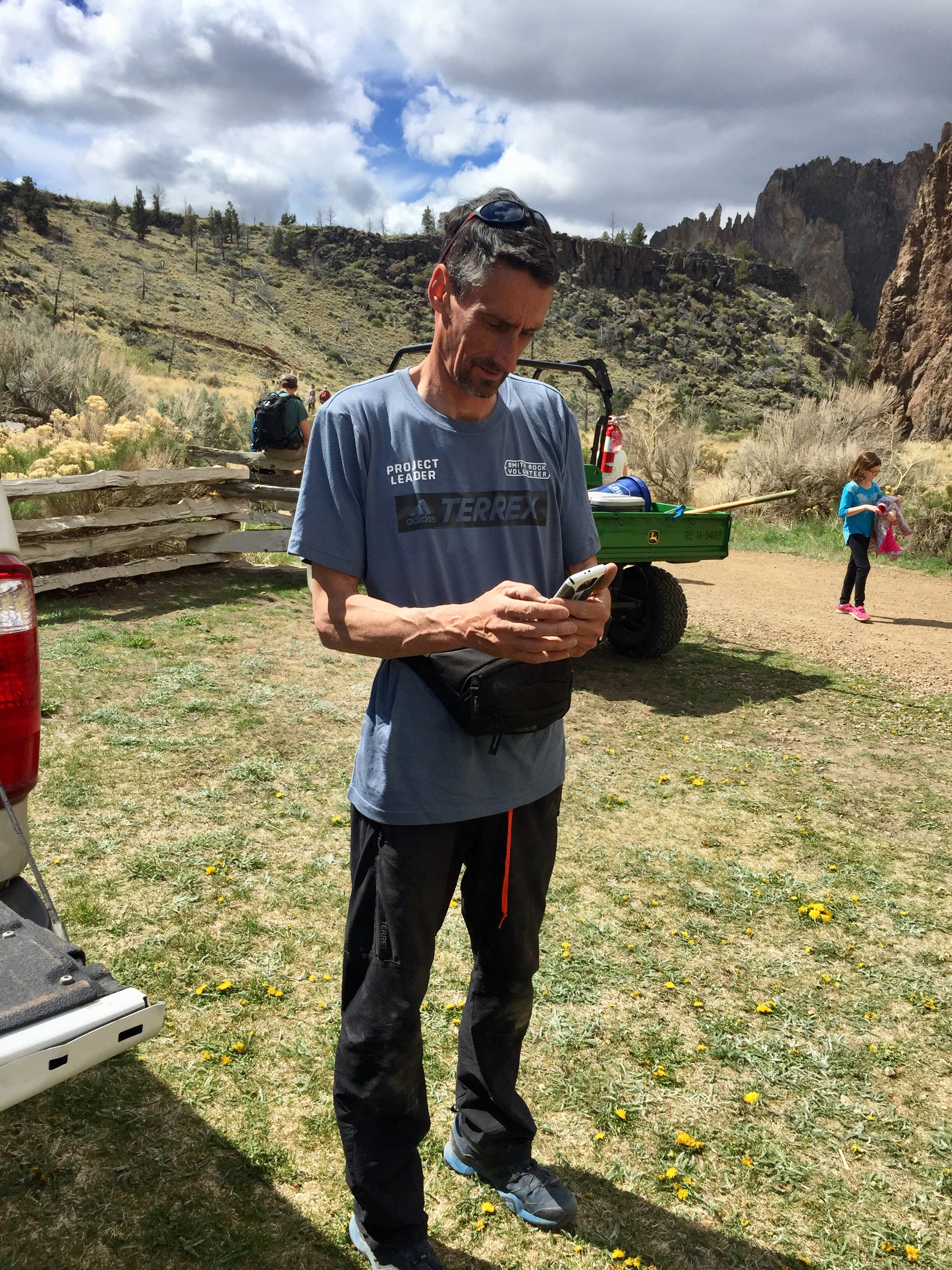 The brains behind the brawn. - While rock climbers only make up a quarter of the annual visitation of 780,000+ visitors to Smith Rock State Park, they do the bulk of its restoration each spring, supplementing the efforts of a limited park staff.Organized each year by a small local non-profit started over 25 years ago called The Smith Rock Group (SRG), they work with park management months in advance of the event to identify projects.Each year's materials are bought and paid for by donations to SRG and money raised by raffles and auctions at the end of the day from donations from area sponsors.  Pictured here is Ian Caldwell, the Smith Rock Group's Projects Manager