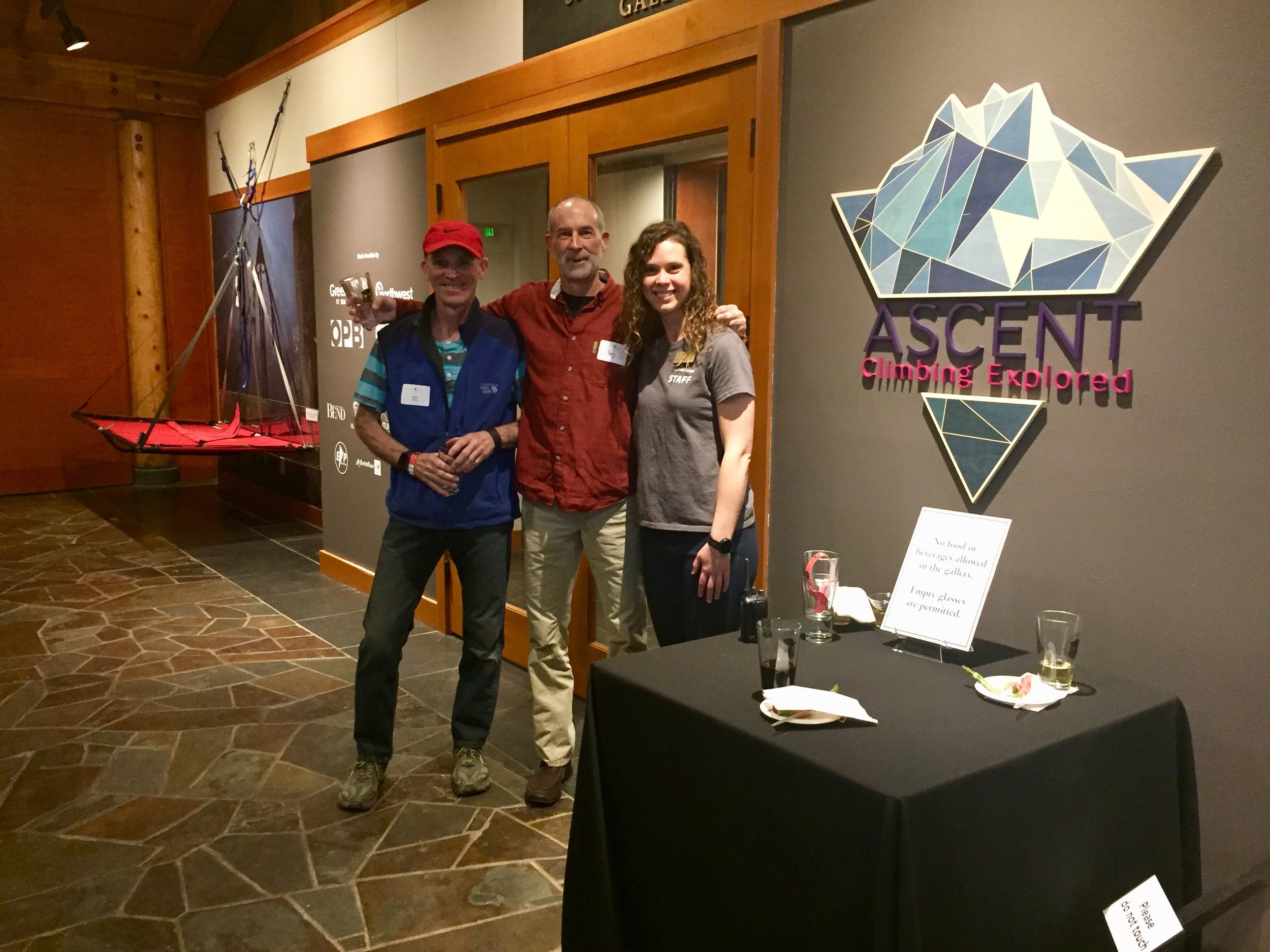 Alan Watts and Mike Volk with Curator Laura Ferguson at the entrance to the Ascent Climbing Exhibit
