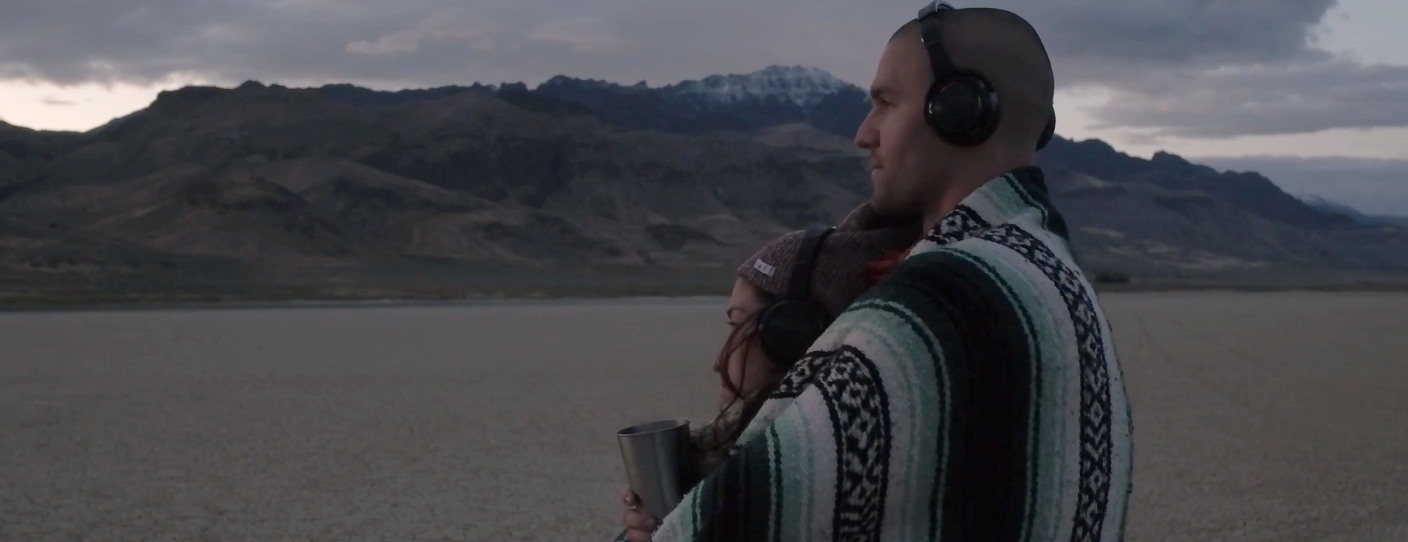 """Listening through headphones in the Alvord Desert to """"In a Landscape"""" performance- click to enlarge"""