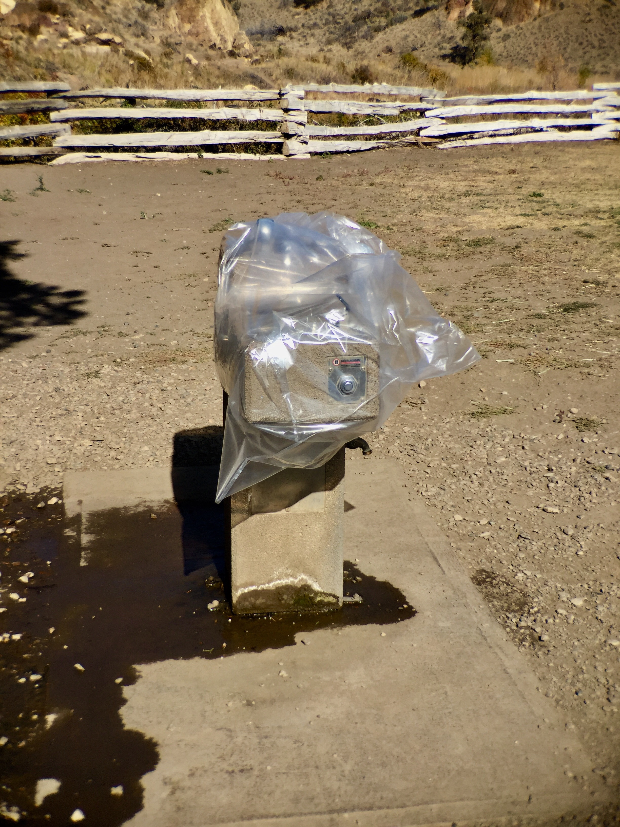 water fountain closed off at Smith Rock State Park
