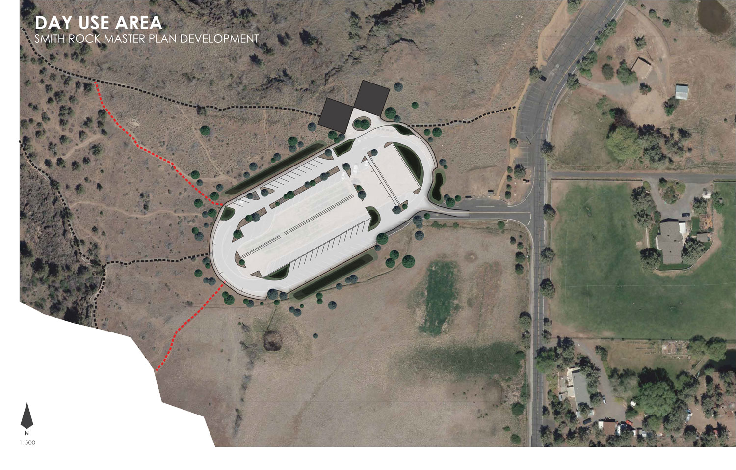 Overhead Google Maps inset of the proposed Day Use Area changes. Click to enlarge.