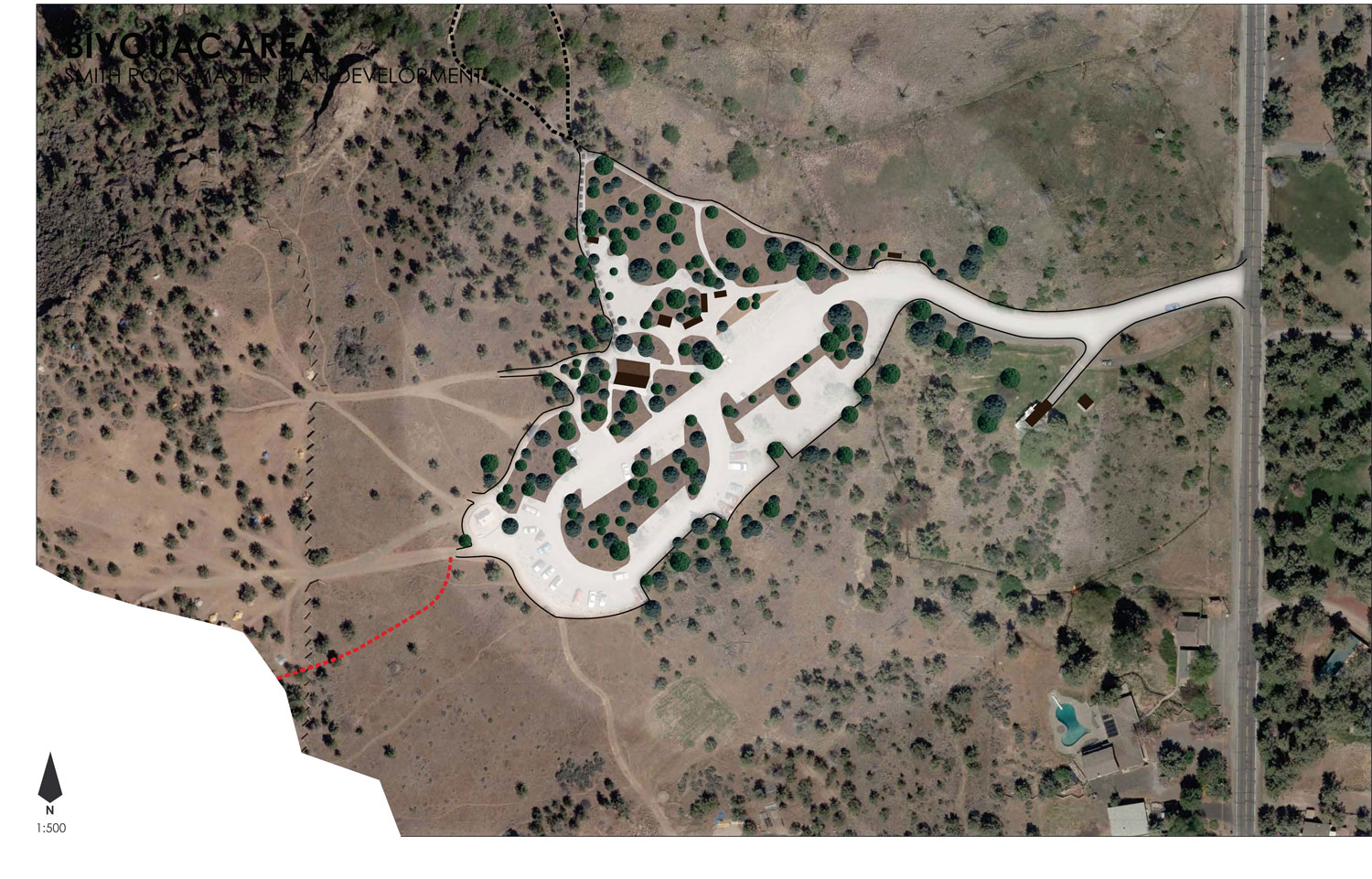 Overhead Google Maps inset of the proposed BIvy/Campground Area changes. Click to enlarge.