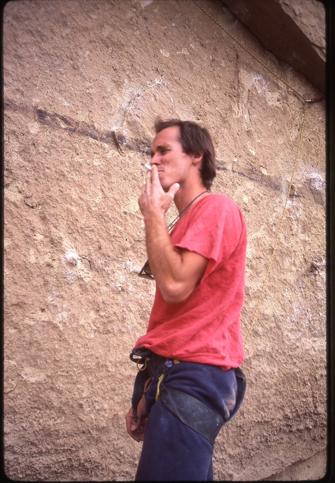Alan Watts, rebel with a cause, at Smith Rock in 1986.  This image and header image courtesy of Jeff Smoot.