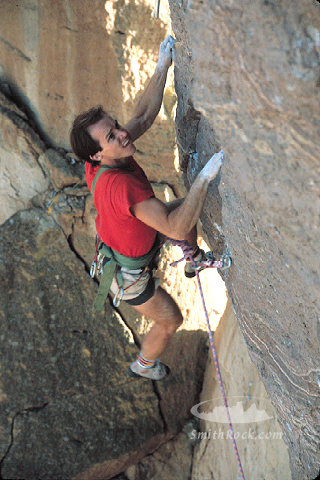 Alan Watts on  East Face,  Monkey Face in the fall of 1984.   Image by SmithRock.com.