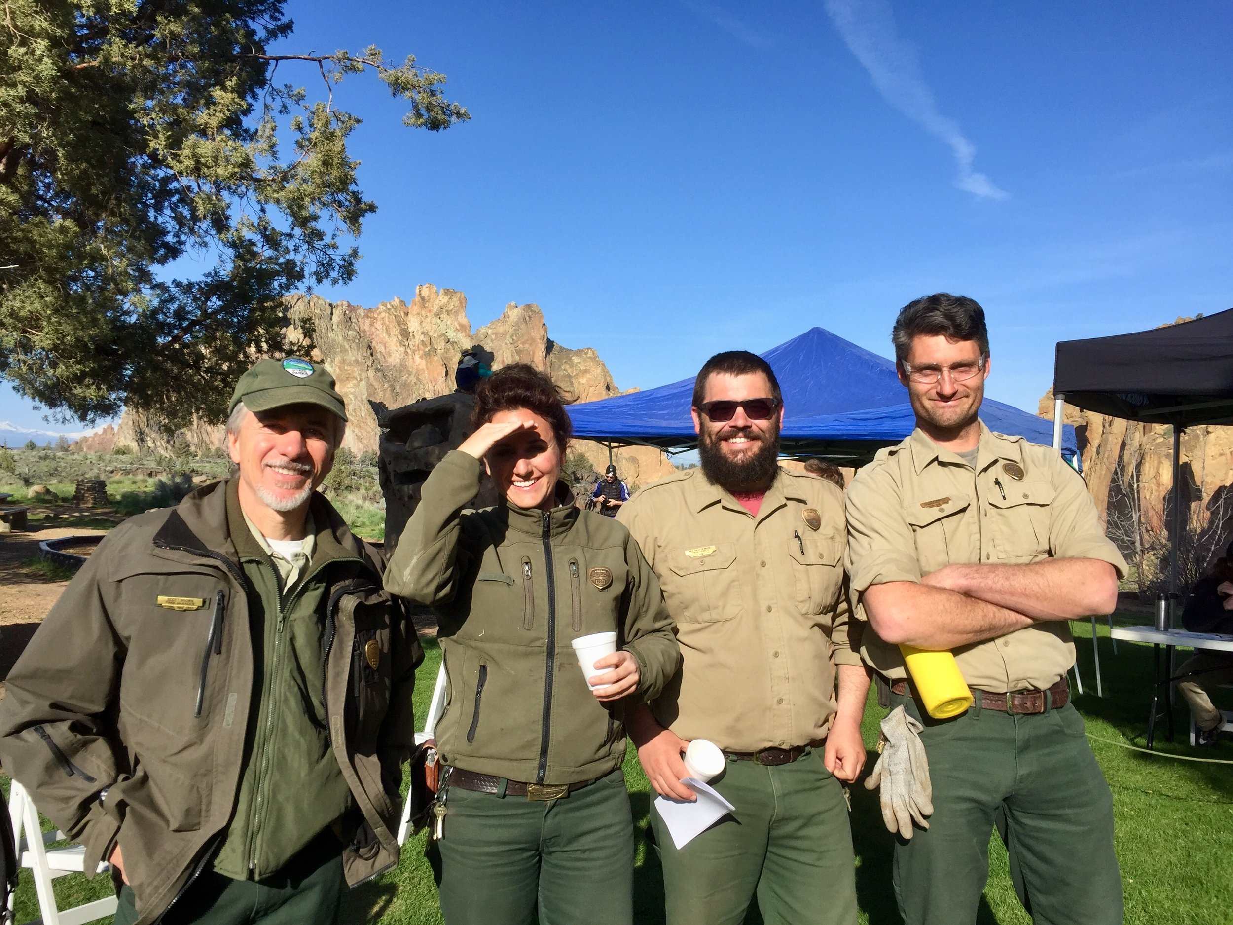 From left to right, Park Manager Scott Brown, Ranger Josie Barnum, Ranger Nolan Ferdinand, and Park Ranger Assistant Patrick Tinsley at this year's Smith Rock Spring Thing volunteer day.