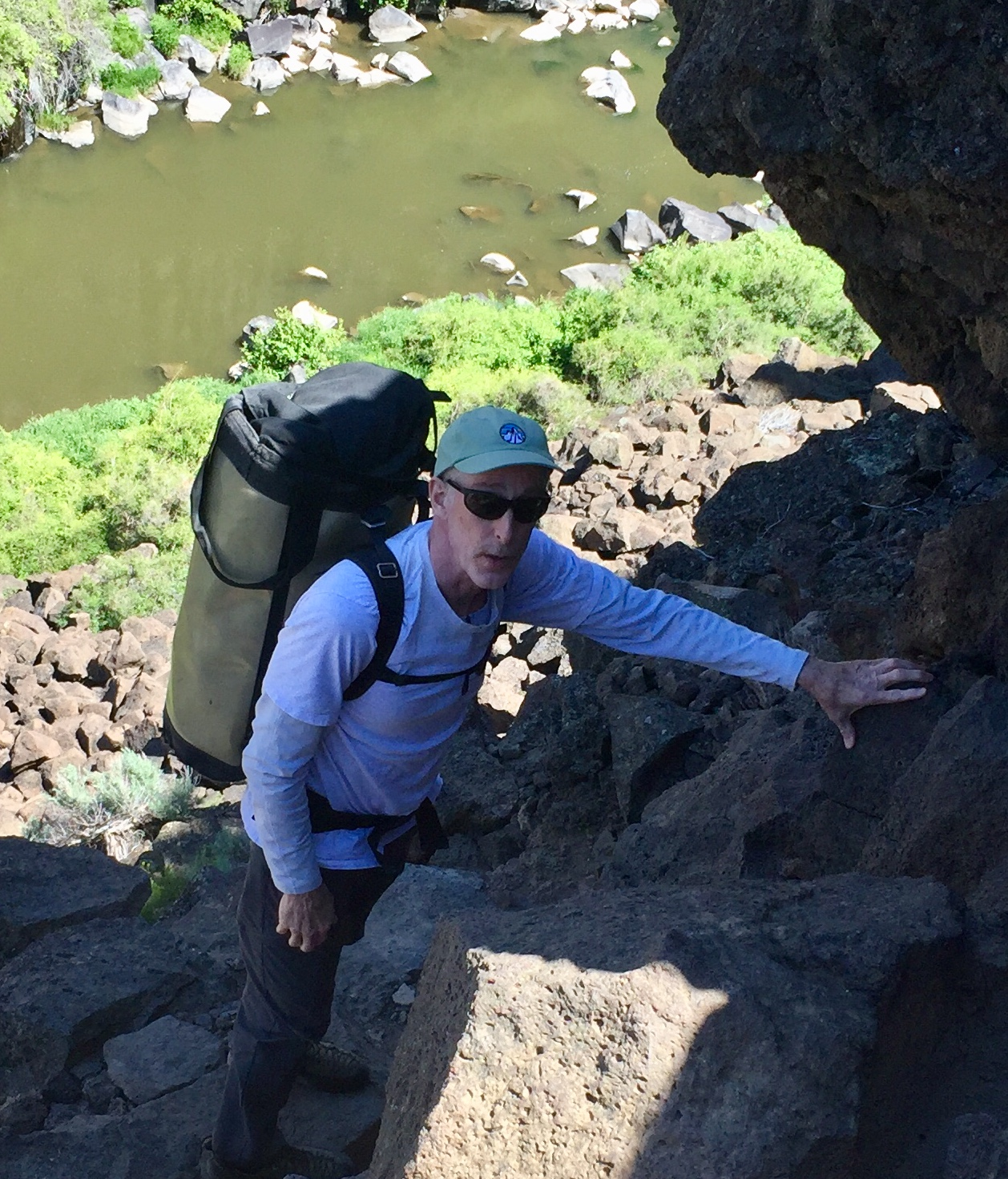 John Rich begins his descent into the Lower Gorge's west side.