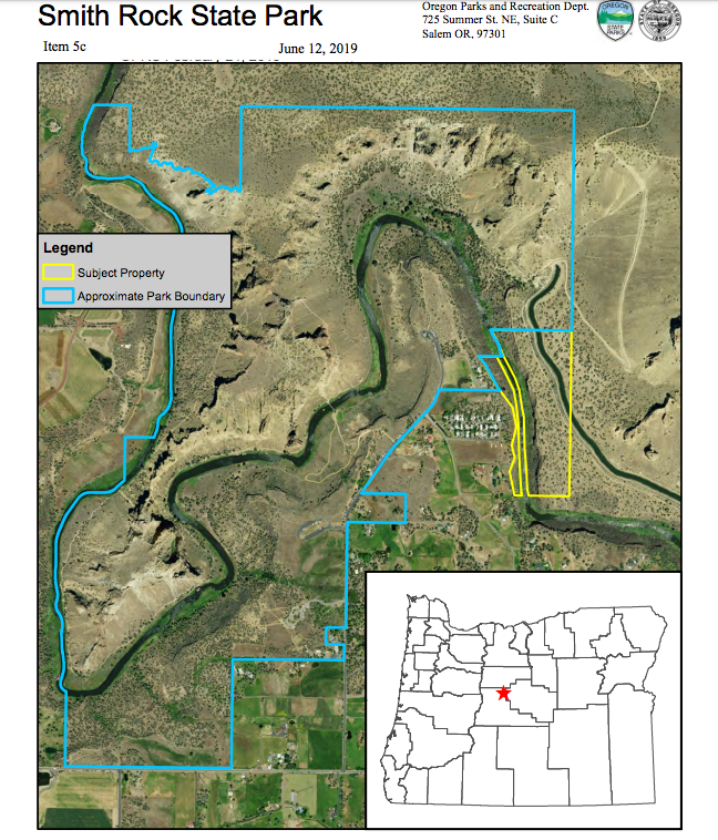 The yellow lines designate the proposed acquisition, the blue is the current park boundary. Click to enlarge.