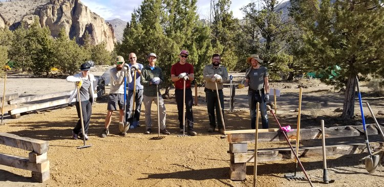 AAC Smith Rock Craggin' Classic volunteers with Smith Rock rangers add ADA campsites
