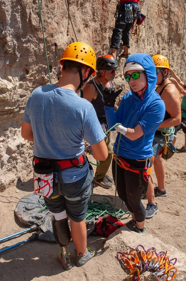 OAS Adaptive Climbing clinic w/Maureen Beck and Jim Ewing.  Photo by Janelle Dransfield.