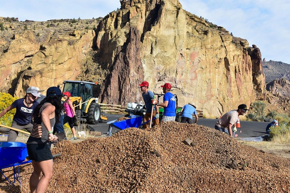 Volunteers working with the park and High Desert Climbers Alliance on making the park more accessible.  Photo by Sienna Fitzpatrick.