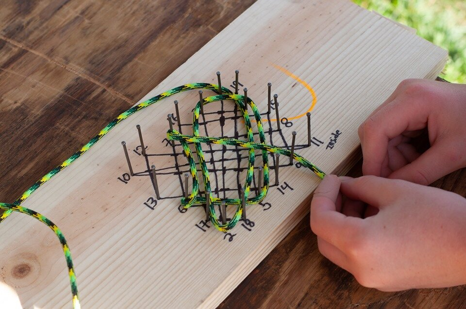 Mini rope rug making activity.  Photo by Janelle Dransfield.