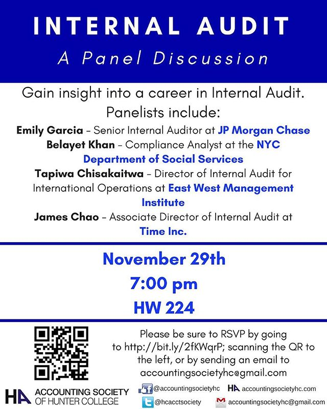 Don't miss the chance to learn all about internal audit! Our panel discussion may lead you to pursue a career in internal audit. #accountingsociety #internalaudit #hunter #accounting