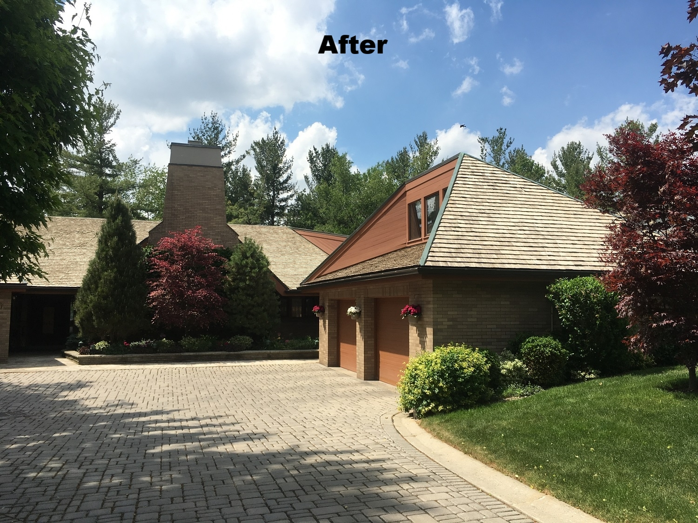 Cedar shake roof moss removal services Burlington