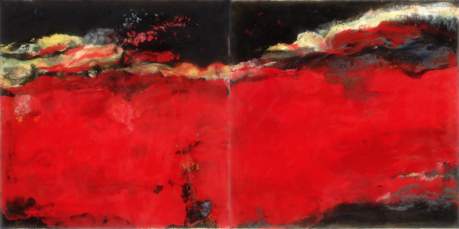 "© 2012 Flo Bartell, Moving On, 24"" x 48"", encaustic on two wood panels"