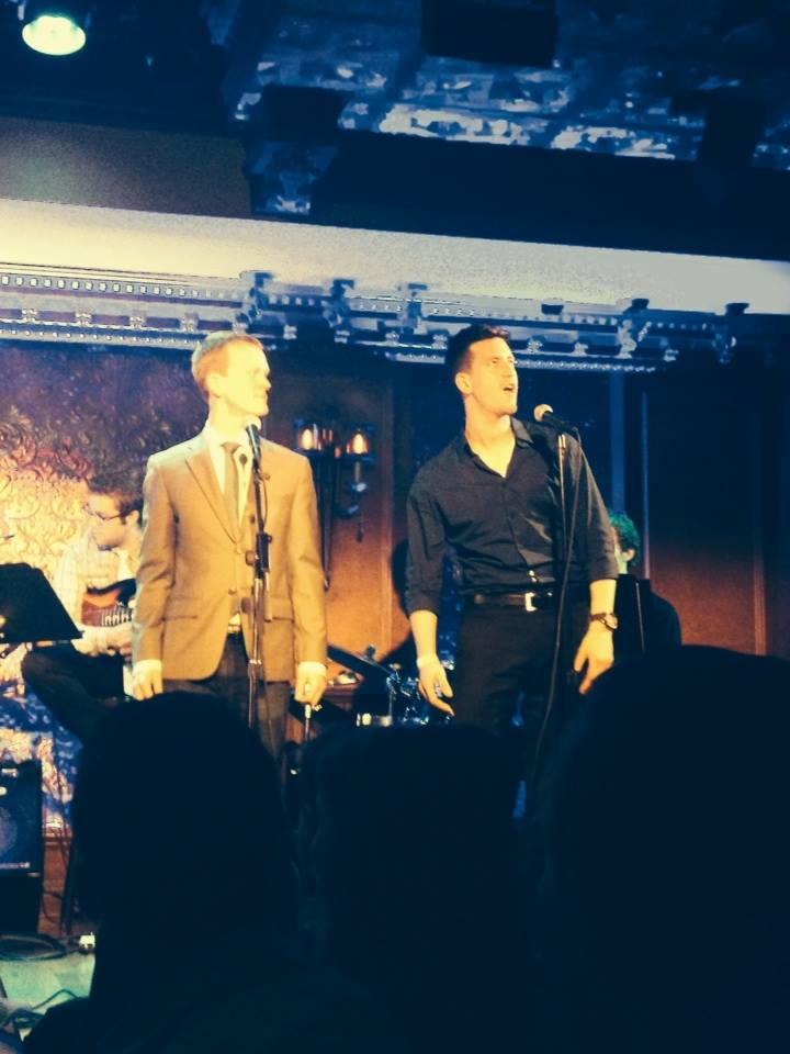 """Max singing with the original cast of """"The Cobalteans"""" (Chavez and Papadimos) at 54 Below, (PJ Adzima, Max, Left to Right)"""