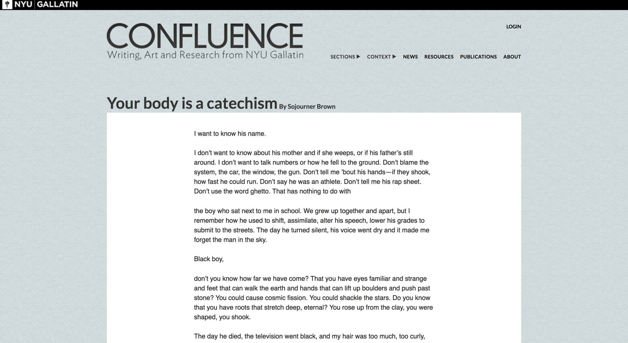 Via CONFLUENCE  Poetry selected to be featured