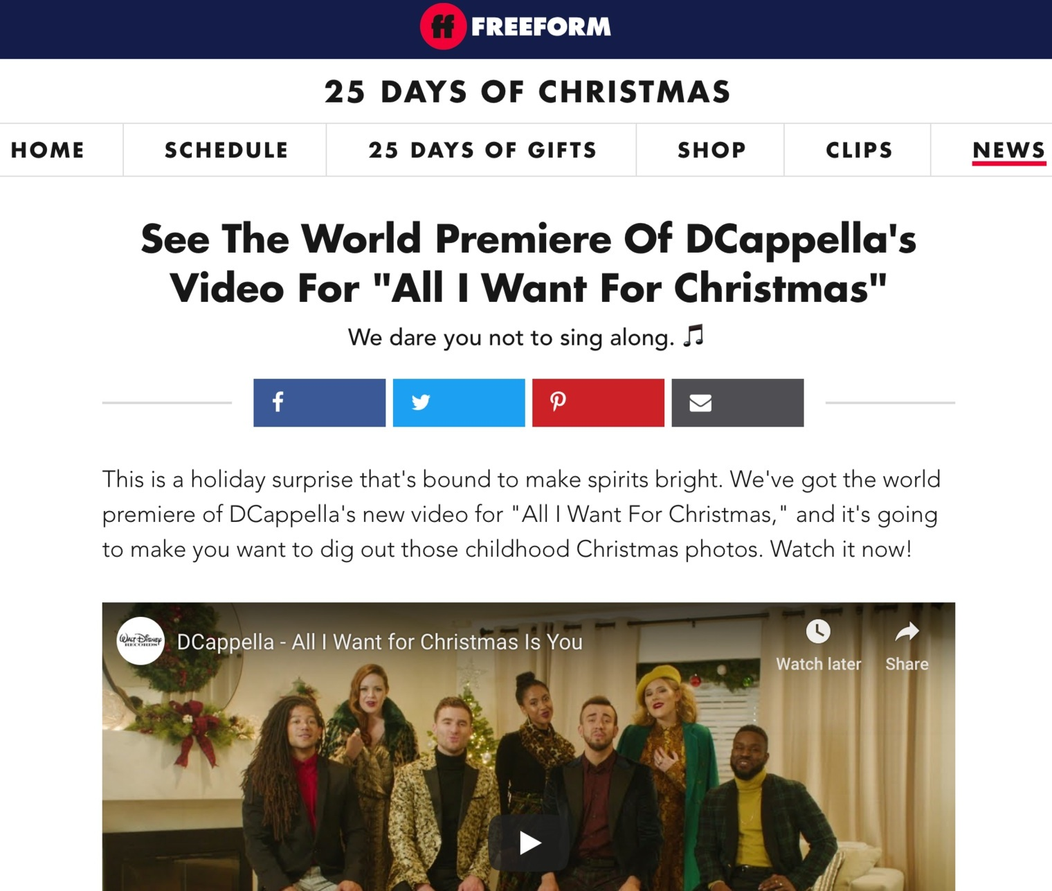 Via FREEFORM  Music video featured on TV for Freeform's 25 Days of Christmas