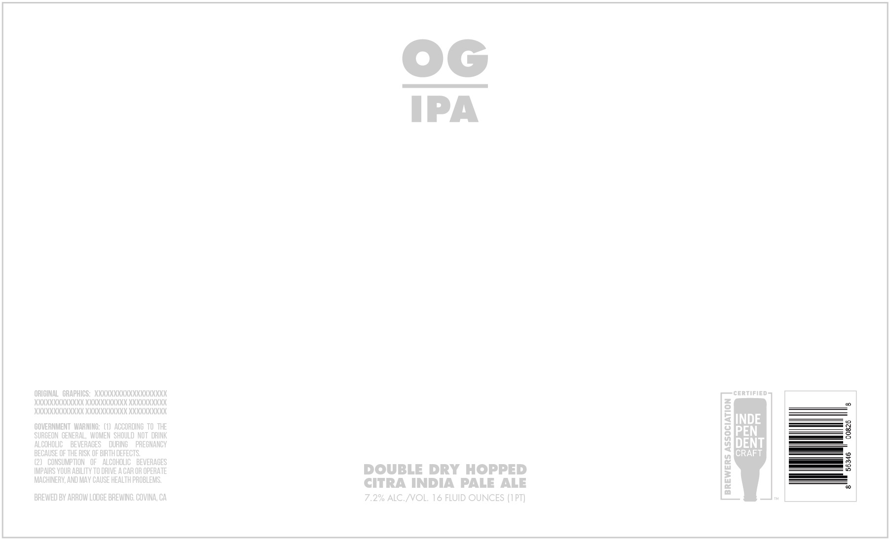 O.G. (Original Graphics) - DOUBLE DRY HOPPED CITRA IPA7.2% ABV