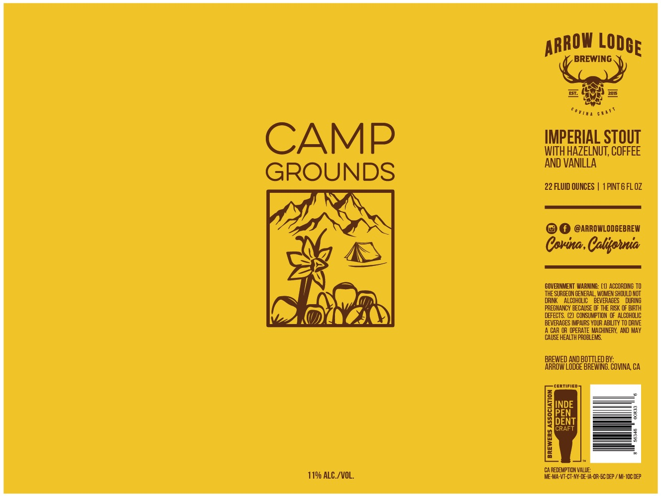 CAMP GROUNDS - IMPERIAL STOUT w/ HAZELNUT, COFFEE AND VANILLA11% ABV