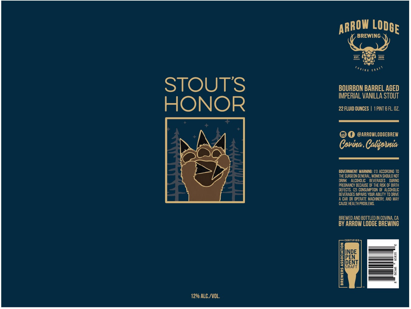 STOUT'S HONOR - BOURBON BARREL AGED IMPERIAL VANILLA STOUT12% ABV