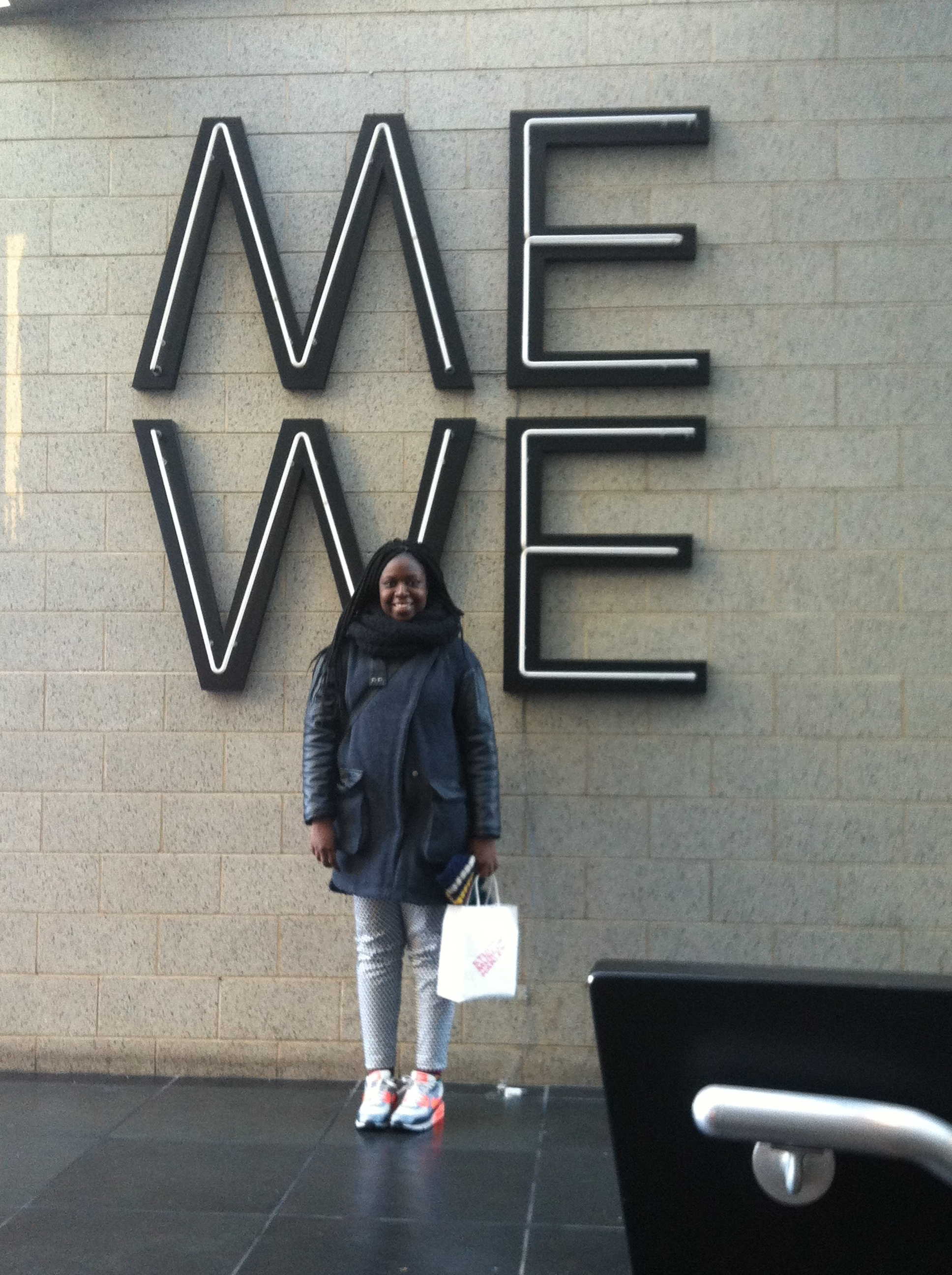 """Me in front of Glenn Ligon's """"Give Us a Poem (Palindrome #2)"""" (2007) at the Studio Museum in Harlem"""