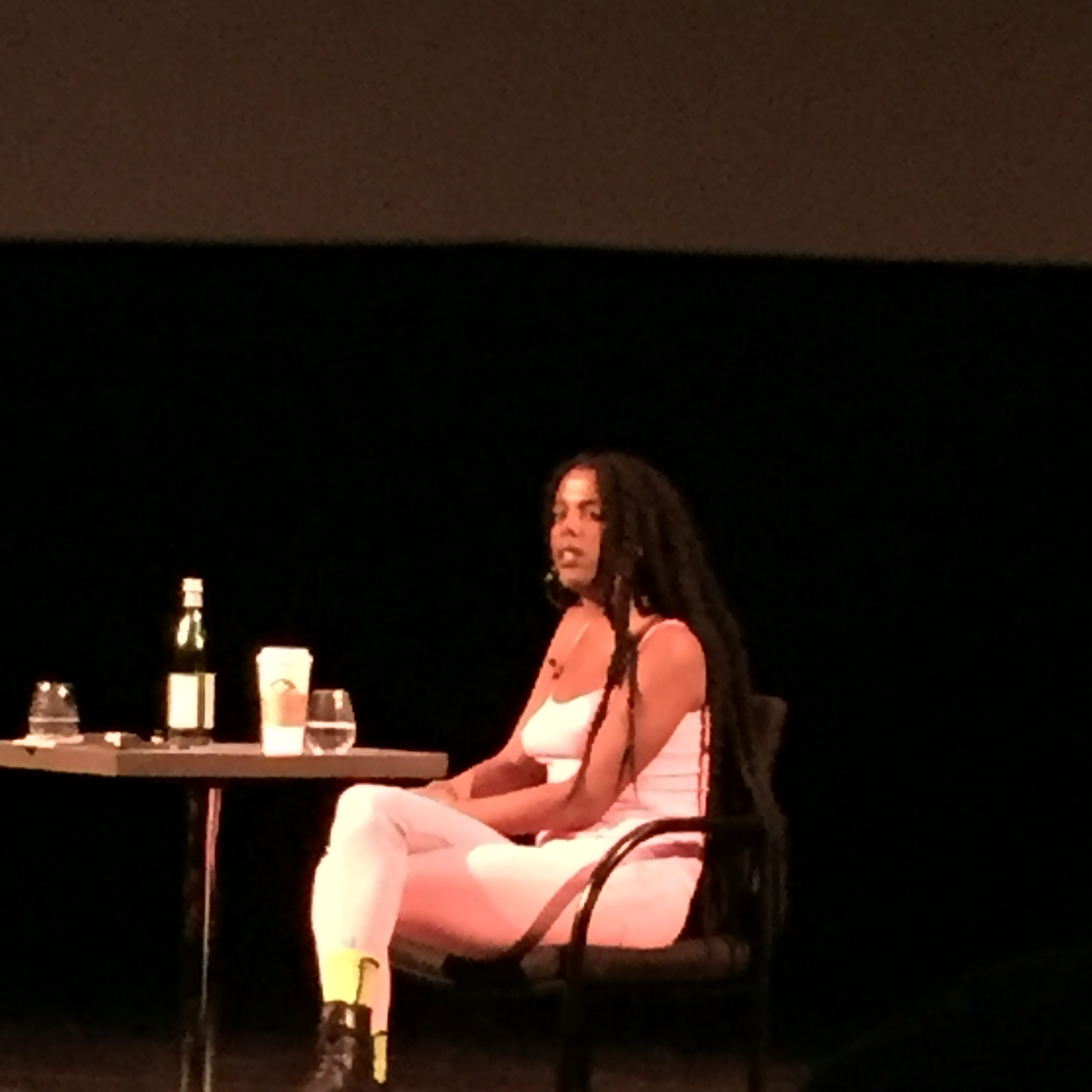 Juliana Huxtable in conversation with Mikhel Proulx on Jan. 20 at D. B. Clarke Theatre, Concordia University.