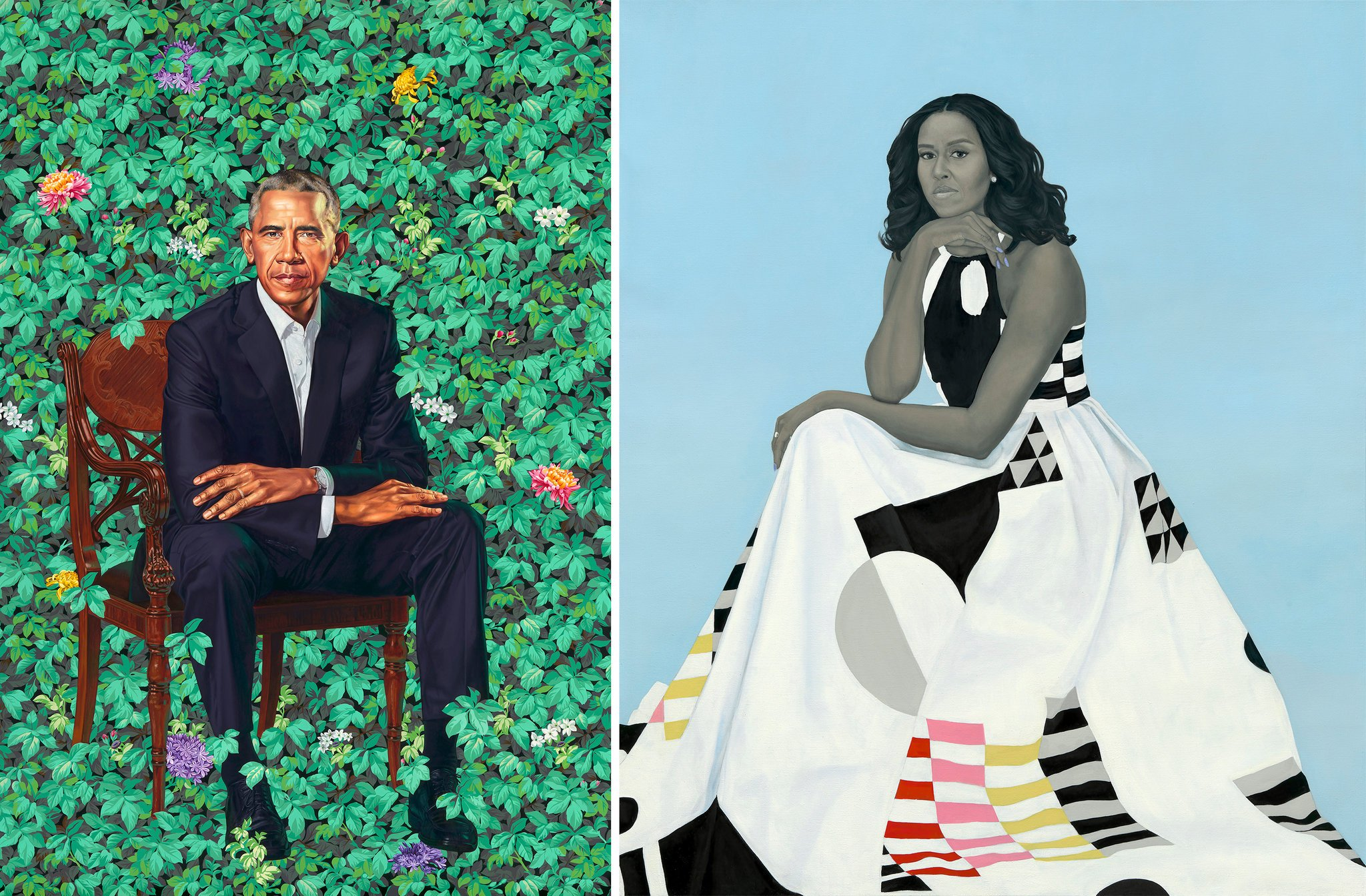 Left: Barack Obama, by Kehinde Wiley. Right: Michelle Obama, by Amy Sherald. (2018)   Image source.