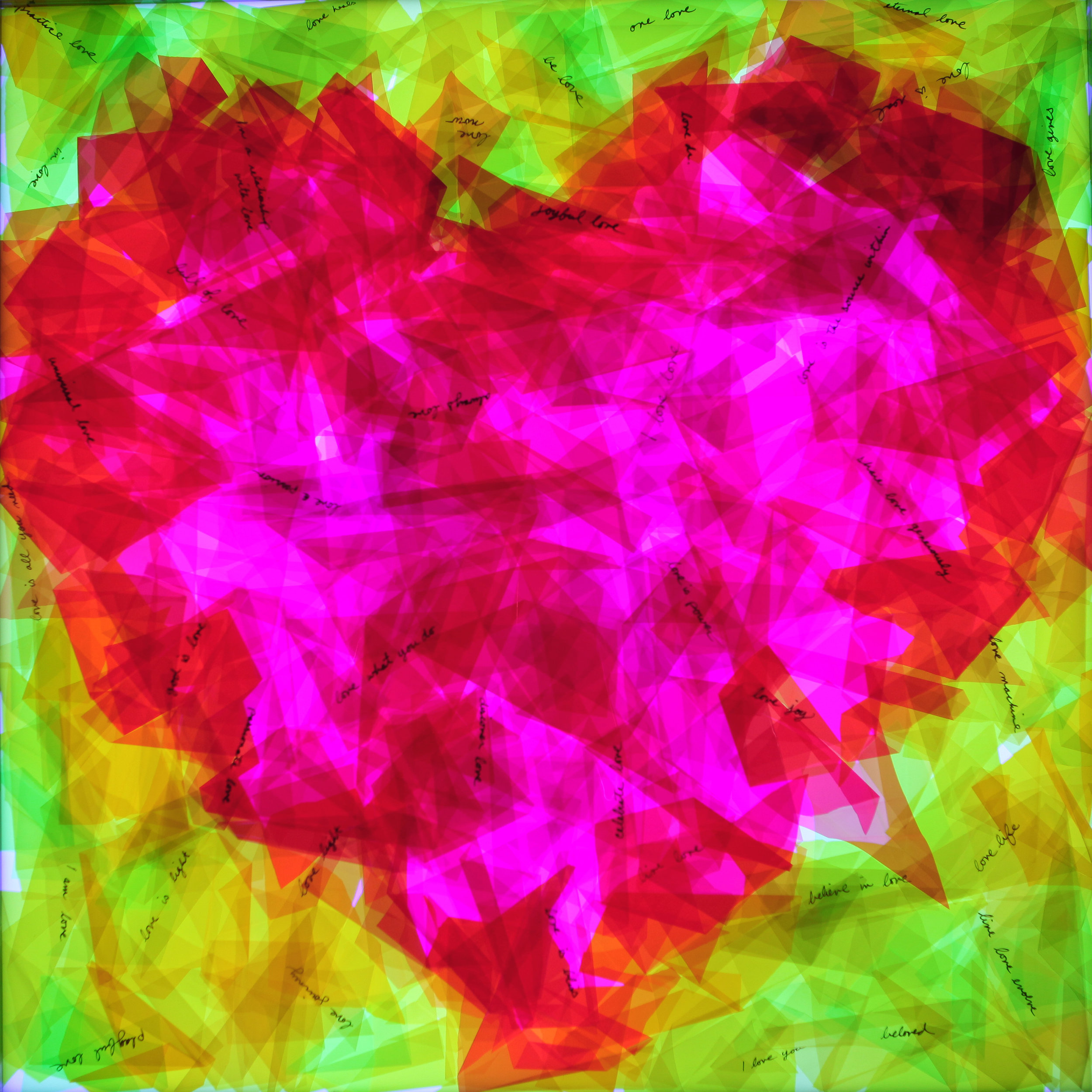 "Heartbeat 24""x24"" : Color changing LEDs create a heartbeat effect and the word ""love"" appears and disappears, as colors change : Sold"