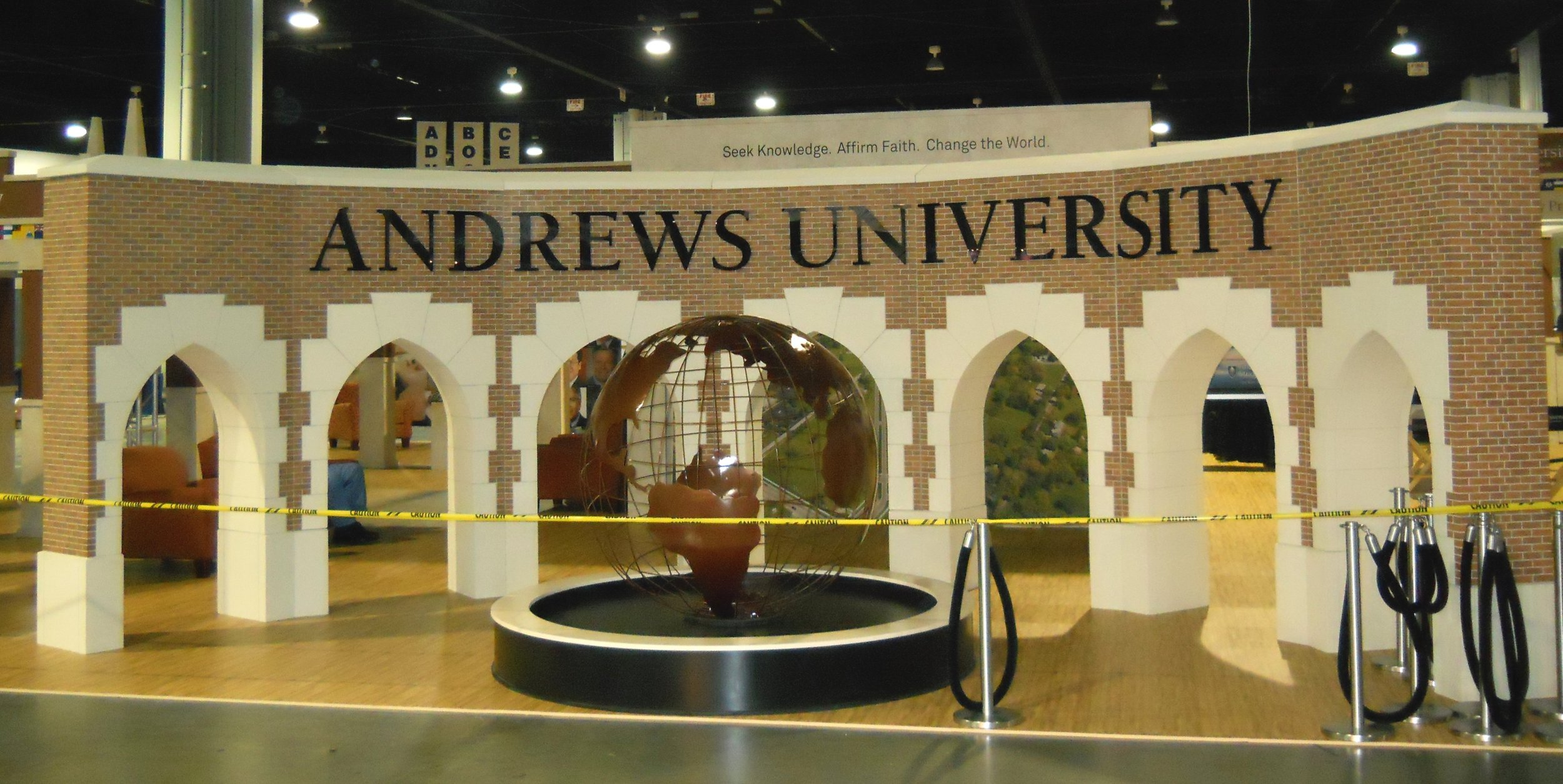 Display for Andrews University in Berrien Springs MI. The arches are an exact 1/2 scale replica of the arches in front of the university. They are made out of EPS.