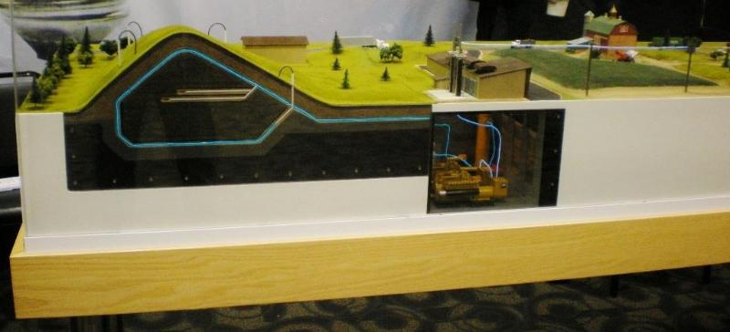 Best Way Disposal Model showing a cut a way view of the landfill and massive generators.