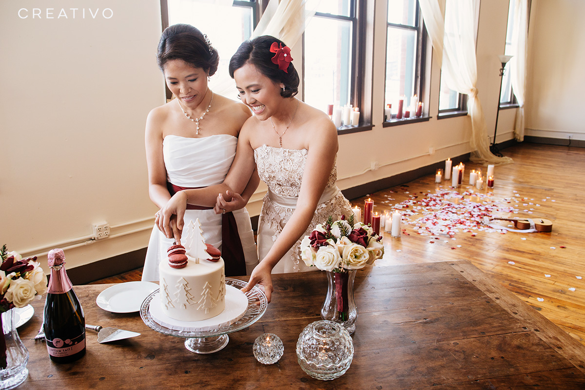 """6. A """"mini wedding"""" elopement with candle altar, cake, flowers, music, and champagne"""