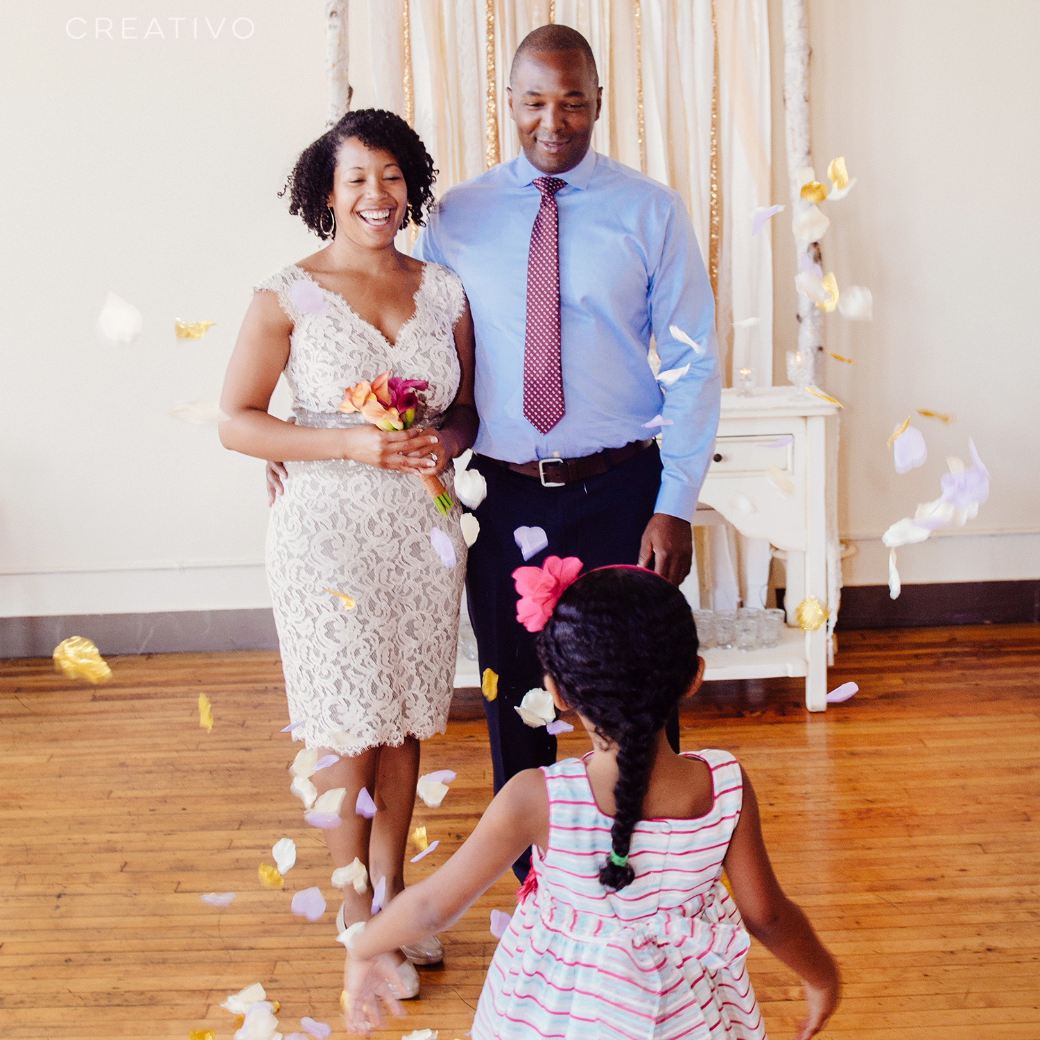 10. Chicago elopement with your child and flower petals