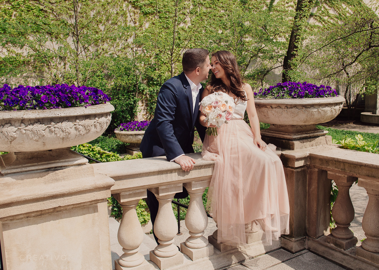 18. Landscaped garden elopement in Chicago, designed by an iconic landscape architect