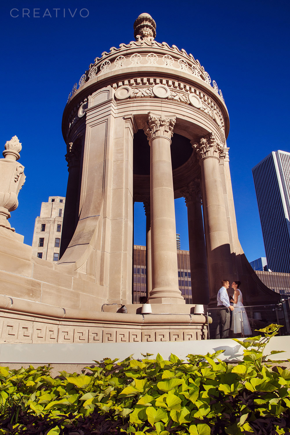 22. Rooftop elopement at the top of one of Chicago's many recently revived architectural gems