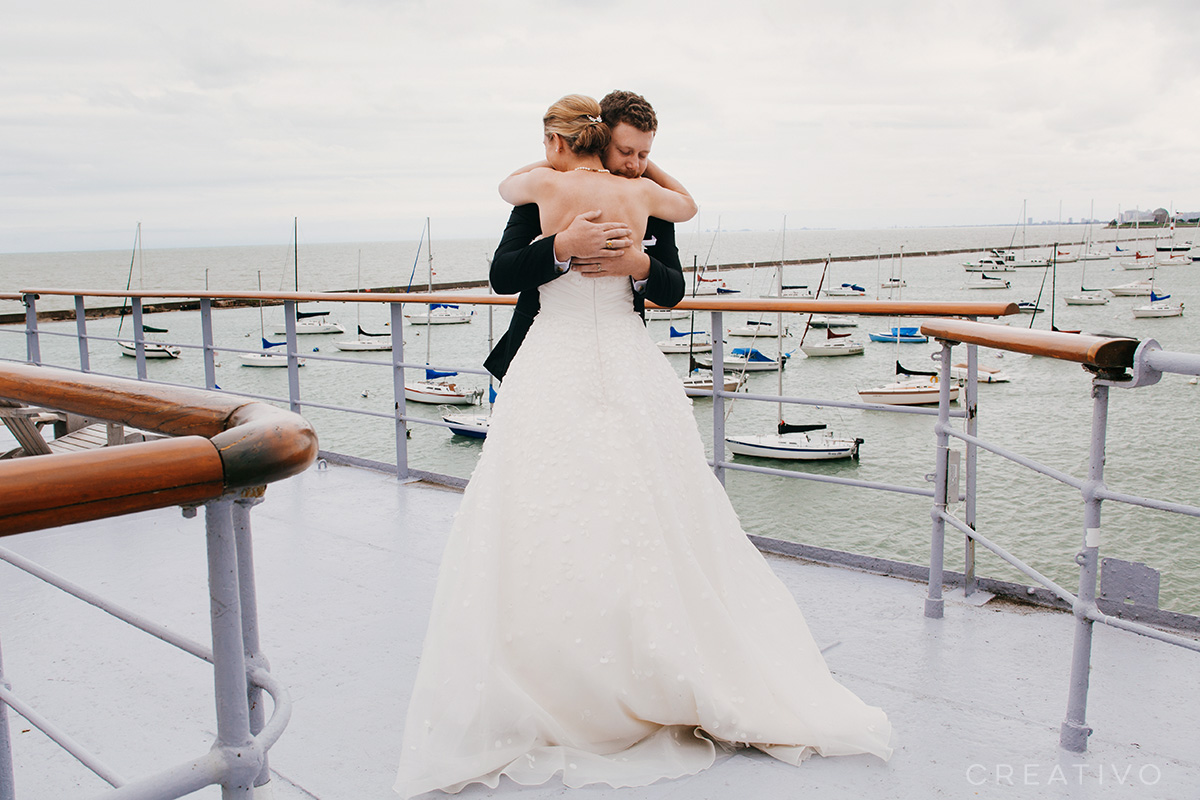 3. Boat elopement in Chicago at a harbor.