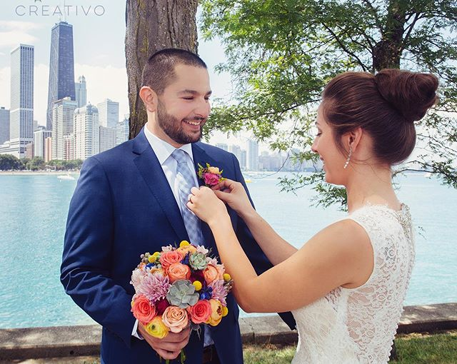 Vibrant summer hues for #bouquet and #boutonniere for Charlene & Stephen. #chicagoelopement #elopement #elopementwedding #chicagoelopements #chicagowedding