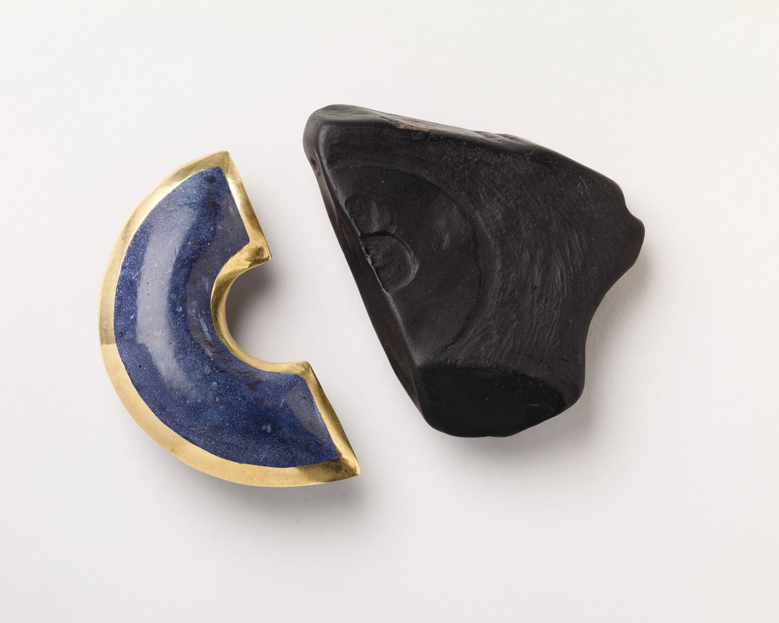 Azure and Woad Brooches, brass, fools lapis lazuli, silver, jet - Photo Credit: Shannon Tofts